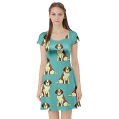 Dog Animal Pattern Short Sleeve Skater Dress