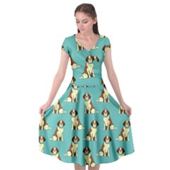 Dog Animal Pattern Cap Sleeve Wrap Front Dress