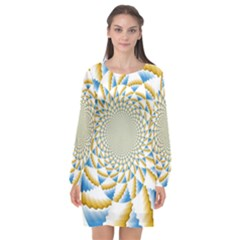 Tech Neon And Glow Backgrounds Psychedelic Art Psychedelic Art Long Sleeve Chiffon Shift Dress  by Jojostore