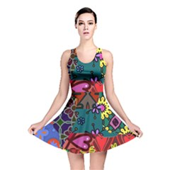 Digitally Created Abstract Patchwork Collage Pattern Reversible Skater Dress by Jojostore