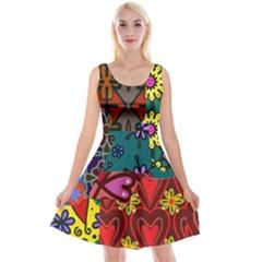 Digitally Created Abstract Patchwork Collage Pattern Reversible Velvet Sleeveless Dress by Jojostore