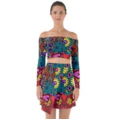 Digitally Created Abstract Patchwork Collage Pattern Off Shoulder Top With Skirt Set by Jojostore