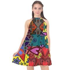 Digitally Created Abstract Patchwork Collage Pattern Halter Neckline Chiffon Dress