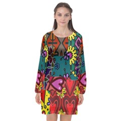 Digitally Created Abstract Patchwork Collage Pattern Long Sleeve Chiffon Shift Dress  by Jojostore