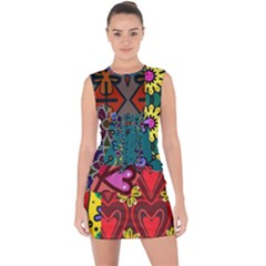 Digitally Created Abstract Patchwork Collage Pattern Lace Up Front Bodycon Dress by Jojostore