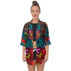 Digitally Created Abstract Patchwork Collage Pattern Open Front Chiffon Kimono by Jojostore