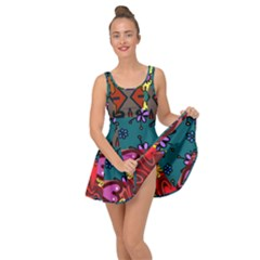 Digitally Created Abstract Patchwork Collage Pattern Inside Out Casual Dress by Jojostore