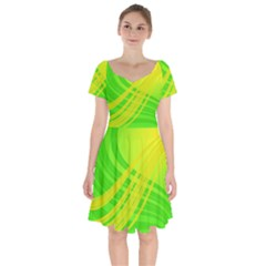 Abstract Green Yellow Background Short Sleeve Bardot Dress