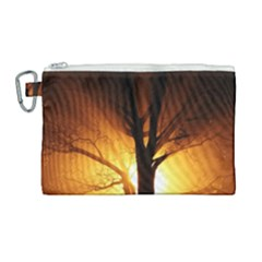 Rays Of Light Tree In Fog At Night Canvas Cosmetic Bag (large) by Jojostore