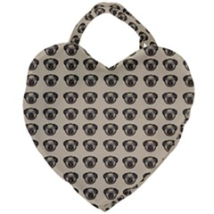 Puppy Dog Pug Pup Graphic Giant Heart Shaped Tote