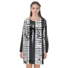 Whitney Museum Of American Art Long Sleeve Chiffon Shift Dress