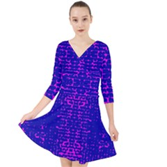 Blue And Pink Pixel Pattern Quarter Sleeve Front Wrap Dress
