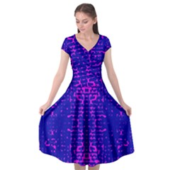 Blue And Pink Pixel Pattern Cap Sleeve Wrap Front Dress