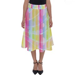 Colorful Abstract Stripes Circles And Waves Wallpaper Background Perfect Length Midi Skirt