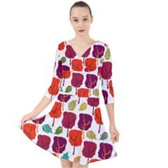 Tree Pattern Background Quarter Sleeve Front Wrap Dress by Jojostore