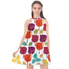 Tree Pattern Background Halter Neckline Chiffon Dress