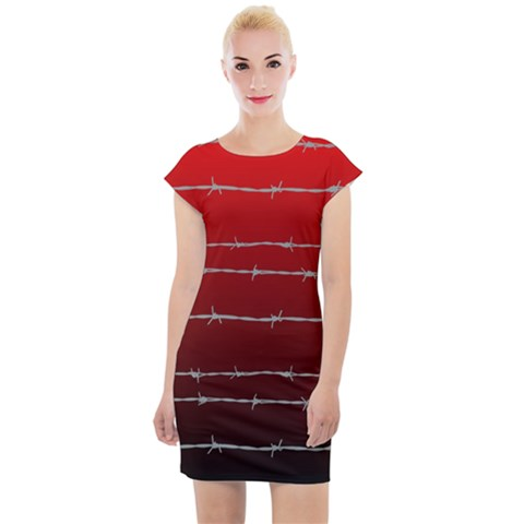 Barbed Wire Ombre Cap Sleeve Bodycon Dress