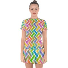 Abstract Pattern Colorful Wallpaper Drop Hem Mini Chiffon Dress by Jojostore