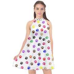 Paw Prints Background Halter Neckline Chiffon Dress  by Jojostore