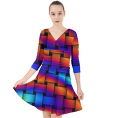 Rainbow Weaving Pattern Quarter Sleeve Front Wrap Dress by Jojostore