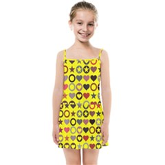 Heart Circle Star Seamless Pattern Kids Summer Sun Dress
