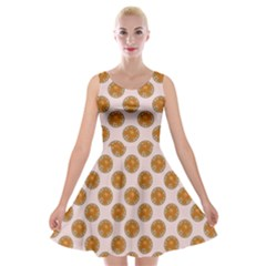 Waffle Polka Dot Pattern Velvet Skater Dress by emilyzragz