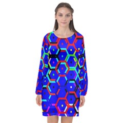 Blue Bee Hive Pattern Long Sleeve Chiffon Shift Dress