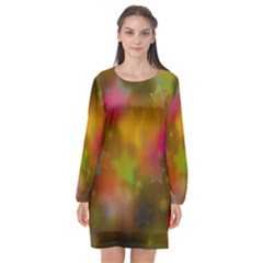 Star Background Texture Pattern Long Sleeve Chiffon Shift Dress  by Jojostore