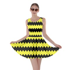 Yellow Black Chevron Wave Skater Dress by Jojostore