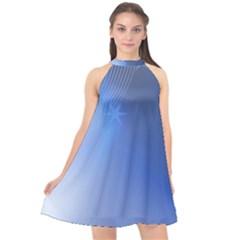 Blue Star Background Halter Neckline Chiffon Dress