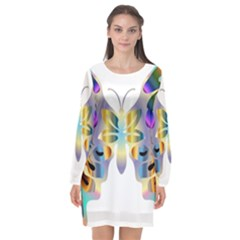 Abstract Animal Art Butterfly Copy Long Sleeve Chiffon Shift Dress  by Jojostore