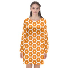 Golden Be Hive Pattern Long Sleeve Chiffon Shift Dress  by Jojostore