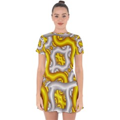 Fractal Background With Golden And Silver Pipes Drop Hem Mini Chiffon Dress