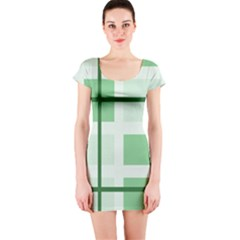 Abstract Green Squares Background Short Sleeve Bodycon Dress