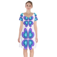 Light Blue Heart Images Short Sleeve Bardot Dress by Jojostore