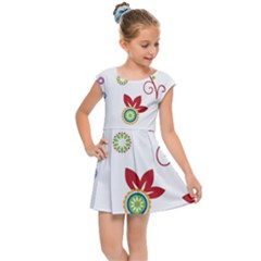 Colorful Floral Wallpaper Background Pattern Kids Cap Sleeve Dress