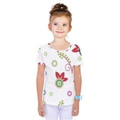 Colorful Floral Wallpaper Background Pattern Kids  One Piece Tee