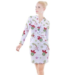 Colorful Floral Wallpaper Background Pattern Button Long Sleeve Dress