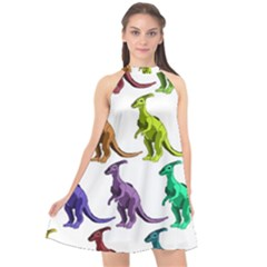 Multicolor Dinosaur Background Halter Neckline Chiffon Dress