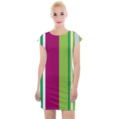 Beautiful Multi Colored Bright Stripes Pattern Wallpaper Background Cap Sleeve Bodycon Dress
