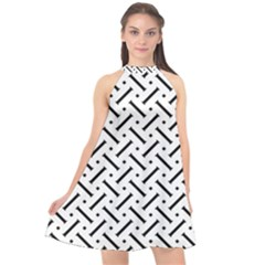 Geometric Pattern Halter Neckline Chiffon Dress  by Jojostore