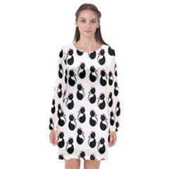 Cat Seamless Animal Pattern Long Sleeve Chiffon Shift Dress