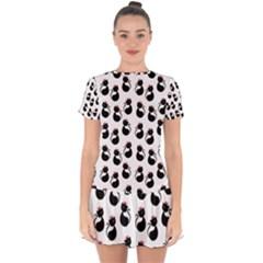 Cat Seamless Animal Pattern Drop Hem Mini Chiffon Dress by Jojostore