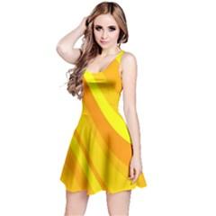 Orange Yellow Background Reversible Sleeveless Dress