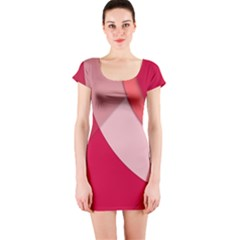 Red Material Design Short Sleeve Bodycon Dress