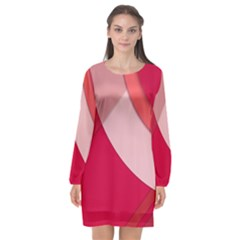 Red Material Design Long Sleeve Chiffon Shift Dress