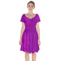 Floraly Swirlish Purple Color Short Sleeve Bardot Dress by Jojostore