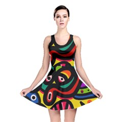 A Seamless Crazy Face Doodle Pattern Reversible Skater Dress