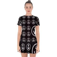 Anchor Pattern Drop Hem Mini Chiffon Dress by Jojostore