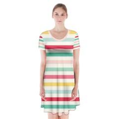 Papel De Envolver Hooray Circus Stripe Red Pink Dot Short Sleeve V Neck Flare Dress by Jojostore